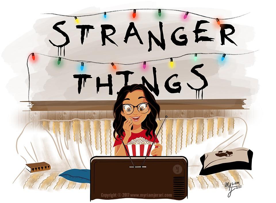 02-Illustratrice Myriam El Jerari sur Netflix devant Stranger Things