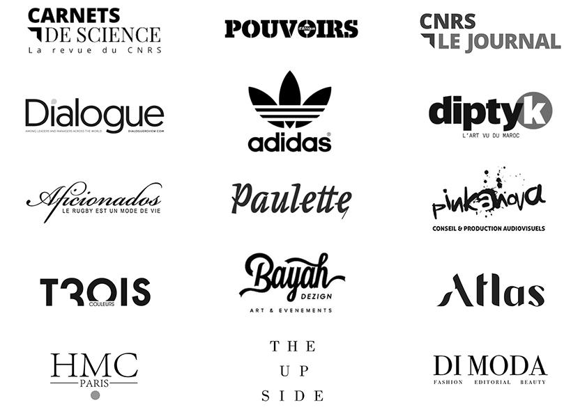 Carnets de science revue CNRS le Journal - Pouvoirs d'Afrique - Dialogue magazine - Adidas - Diptyk - Aficionados rugby Toulouse - Paulette - Pinkanova - Trois couleurs MK2 - Bayah Dezign - Atlas - HMC Paris -